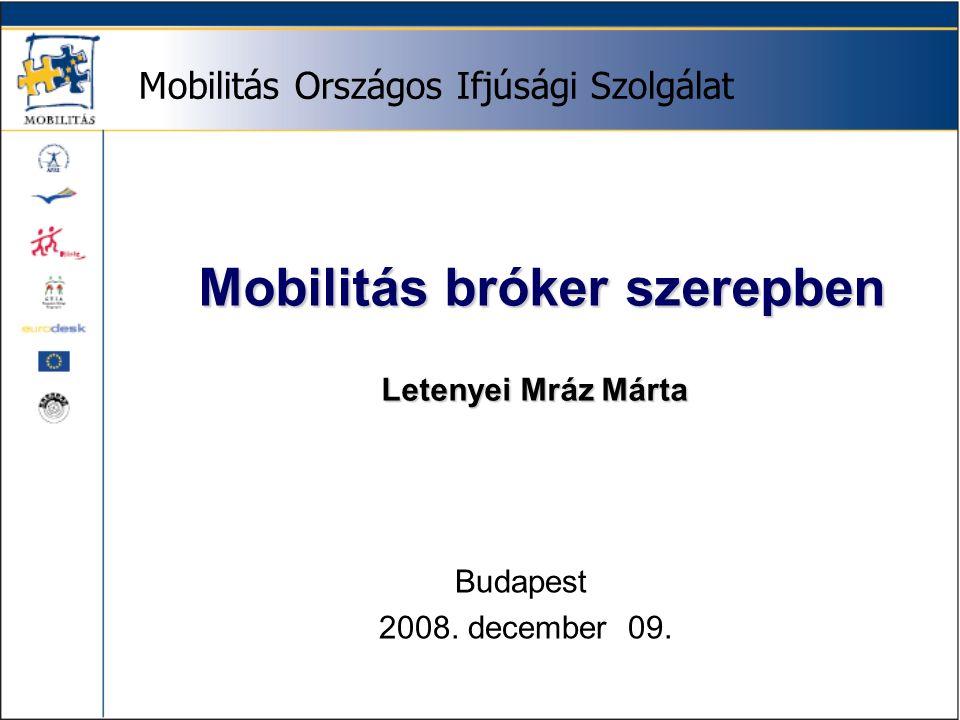 Mobilitás Országos Ifjúsági Szolgálat Mobilitás bróker szerepben Mobilitás bróker szerepben Letenyei Mráz Márta Budapest 2008.