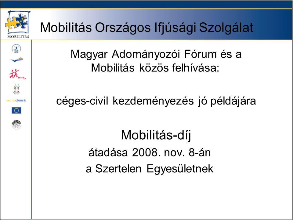 Mobilitás Országos Ifjúsági Szolgálat Magyar Adományozói Fórum és a Mobilitás közös felhívása: céges-civil kezdeményezés jó példájára Mobilitás-díj átadása 2008.