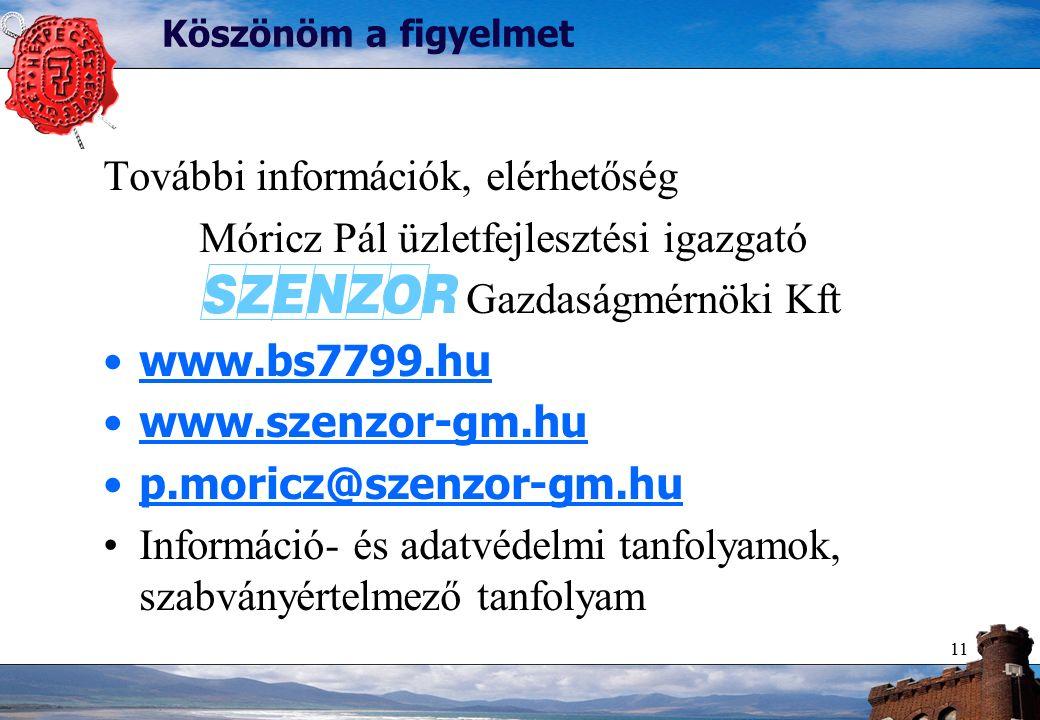11 Köszönöm a figyelmet További információk, elérhetőség Móricz Pál üzletfejlesztési igazgató Gazdaságmérnöki Kft www.bs7799.hu www.szenzor-gm.hu p.moricz@szenzor-gm.hu Információ- és adatvédelmi tanfolyamok, szabványértelmező tanfolyam