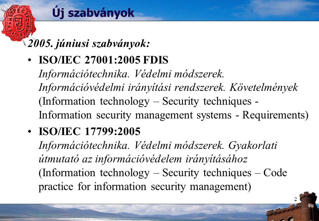 2 Új szabványok 2005. júniusi szabványok: ISO/IEC 27001:2005 FDIS Információtechnika.