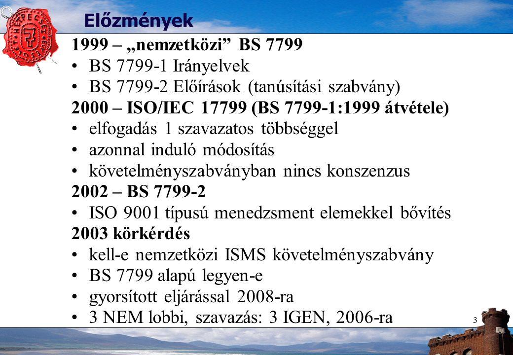 """3 Előzmények 1999 – """"nemzetközi BS 7799 BS 7799-1 Irányelvek BS 7799-2 Előírások (tanúsítási szabvány) 2000 – ISO/IEC 17799 (BS 7799-1:1999 átvétele) elfogadás 1 szavazatos többséggel azonnal induló módosítás követelményszabványban nincs konszenzus 2002 – BS 7799-2 ISO 9001 típusú menedzsment elemekkel bővítés 2003 körkérdés kell-e nemzetközi ISMS követelményszabvány BS 7799 alapú legyen-e gyorsított eljárással 2008-ra 3 NEM lobbi, szavazás: 3 IGEN, 2006-ra"""