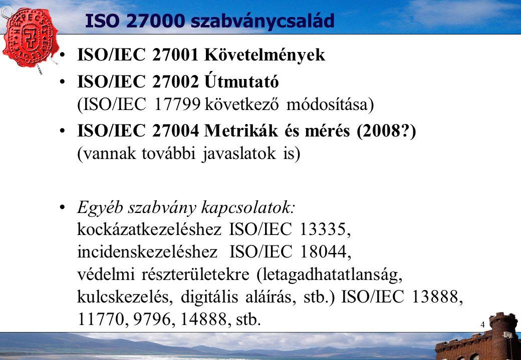 4 ISO 27000 szabványcsalád ISO/IEC 27001 Követelmények ISO/IEC 27002 Útmutató (ISO/IEC 17799 következő módosítása) ISO/IEC 27004 Metrikák és mérés (2008 ) (vannak további javaslatok is) Egyéb szabvány kapcsolatok: kockázatkezeléshez ISO/IEC 13335, incidenskezeléshez ISO/IEC 18044, védelmi részterületekre (letagadhatatlanság, kulcskezelés, digitális aláírás, stb.) ISO/IEC 13888, 11770, 9796, 14888, stb.