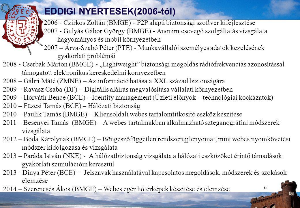 6 EDDIGI NYERTESEK(2006-tól) 2006 - Czirkos Zoltán (BMGE) - P2P alapú biztonsági szoftver kifejlesztése 2007 - Gulyás Gábor György (BMGE) - Anonim cse