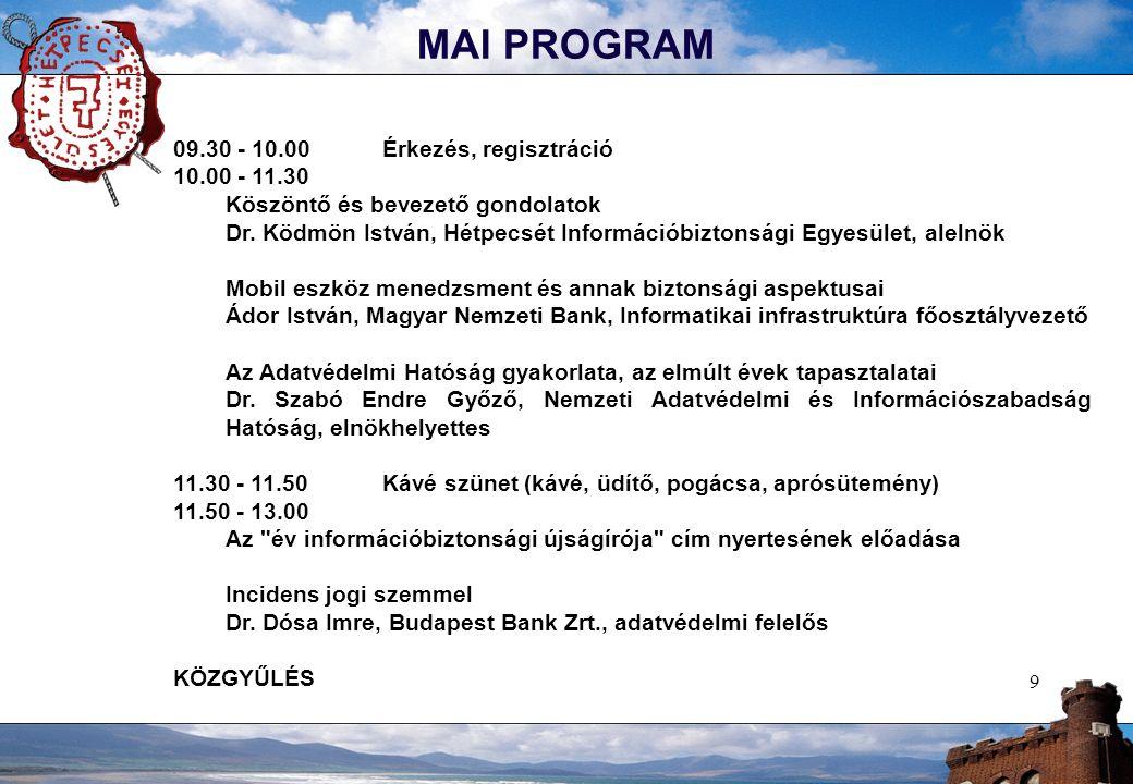 9 MAI PROGRAM 09.30 - 10.00Érkezés, regisztráció 10.00 - 11.30 Köszöntő és bevezető gondolatok Dr. Ködmön István, Hétpecsét Információbiztonsági Egyes