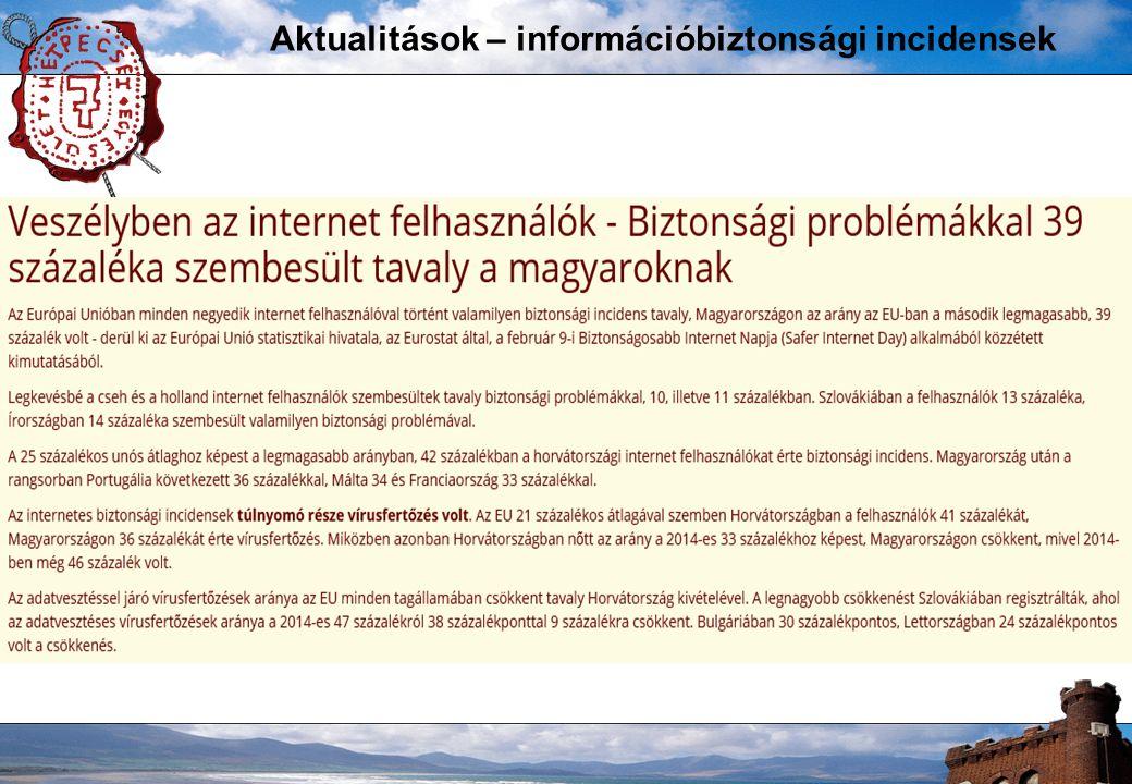 Aktualitások – információbiztonsági incidensek