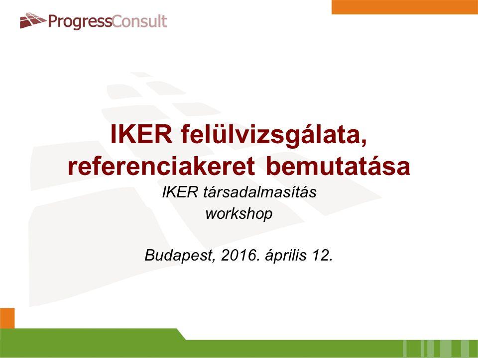 IKER felülvizsgálata, referenciakeret bemutatása IKER társadalmasítás workshop Budapest, 2016. április 12.