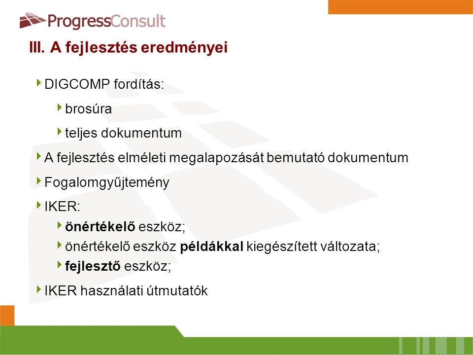 III. A fejlesztés eredményei  DIGCOMP fordítás:  brosúra  teljes dokumentum  A fejlesztés elméleti megalapozását bemutató dokumentum  Fogalomgyűj