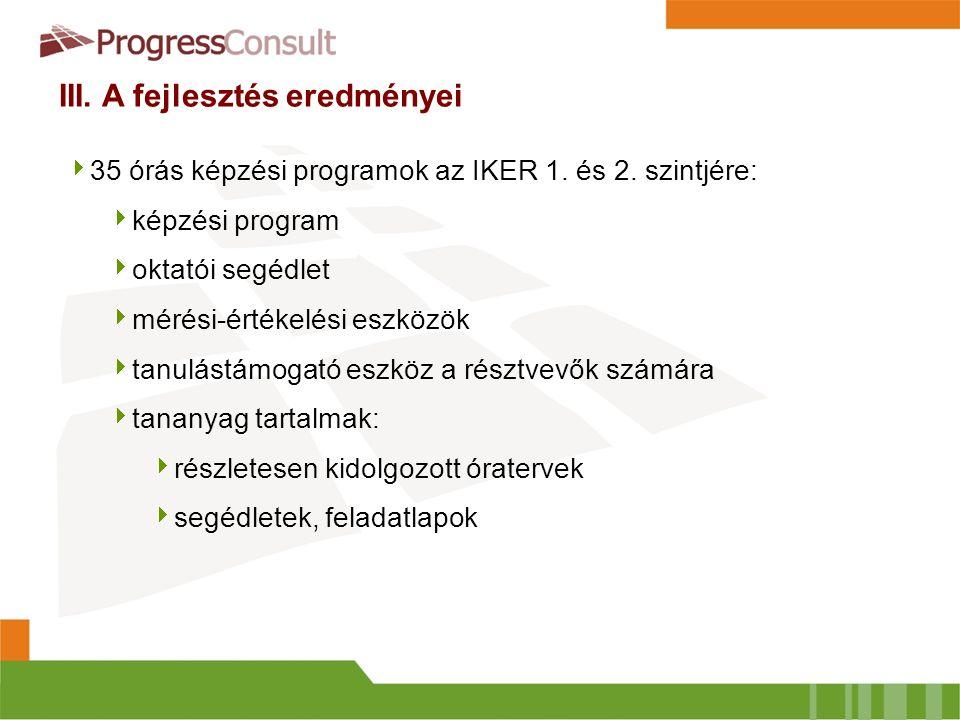 III. A fejlesztés eredményei  35 órás képzési programok az IKER 1. és 2. szintjére:  képzési program  oktatói segédlet  mérési-értékelési eszközök