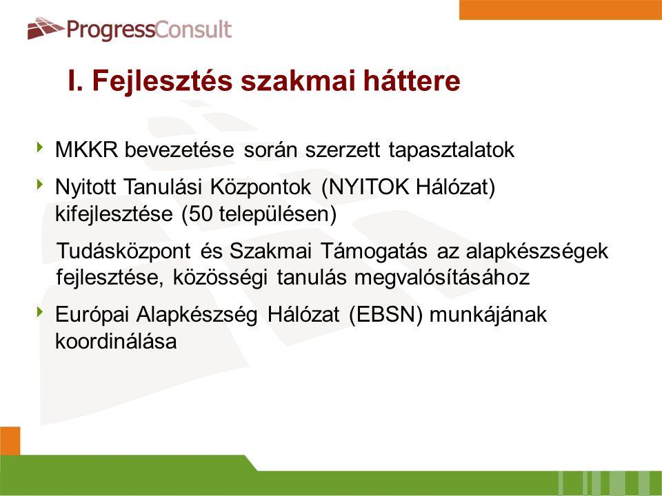 I. Fejlesztés szakmai háttere  MKKR bevezetése során szerzett tapasztalatok  Nyitott Tanulási Központok (NYITOK Hálózat) kifejlesztése (50 település