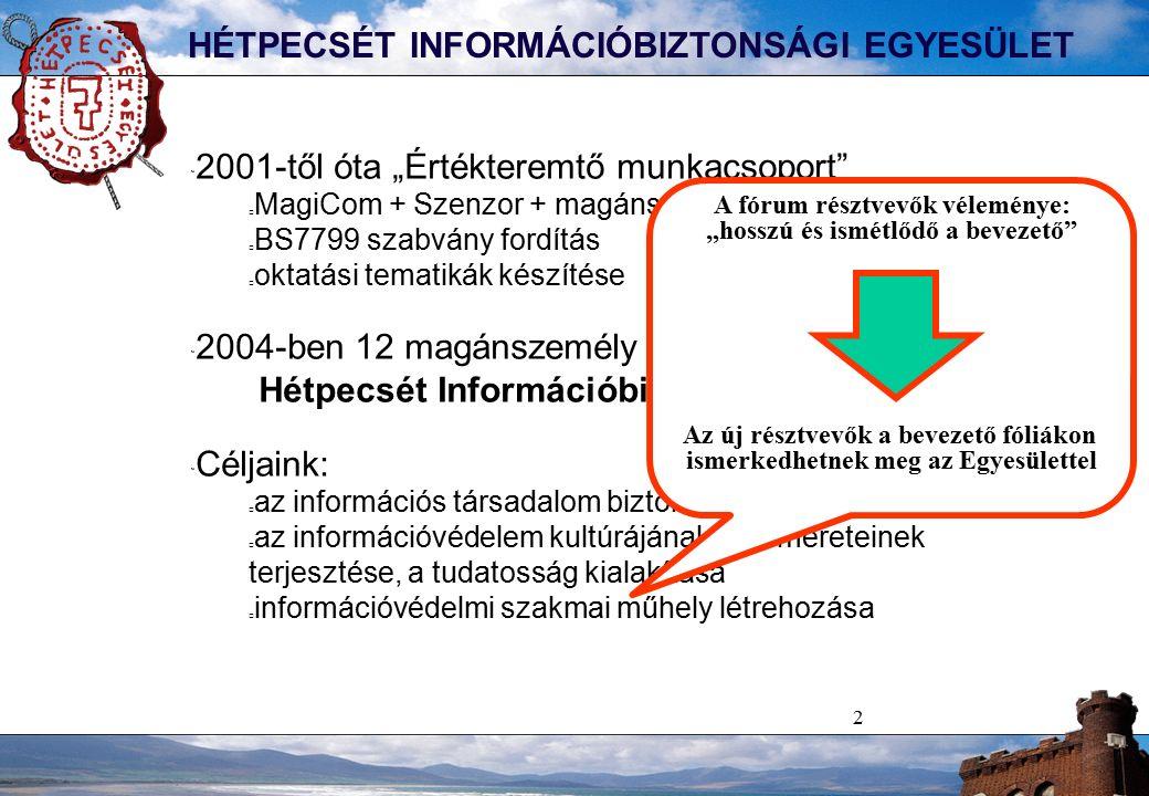 """2 HÉTPECSÉT INFORMÁCIÓBIZTONSÁGI EGYESÜLET  2001-től óta """"Értékteremtő munkacsoport MagiCom + Szenzor + magánszemélyek BS7799 szabvány fordítás oktatási tematikák készítése  2004-ben 12 magánszemély megalakítja a Hétpecsét Információbiztonsági Egyesületet  Céljaink: az információs társadalom biztonságának támogatása az információvédelem kultúrájának és ismereteinek terjesztése, a tudatosság kialakítása információvédelmi szakmai műhely létrehozása A fórum résztvevők véleménye: """"hosszú és ismétlődő a bevezető Az új résztvevők a bevezető fóliákon ismerkedhetnek meg az Egyesülettel"""