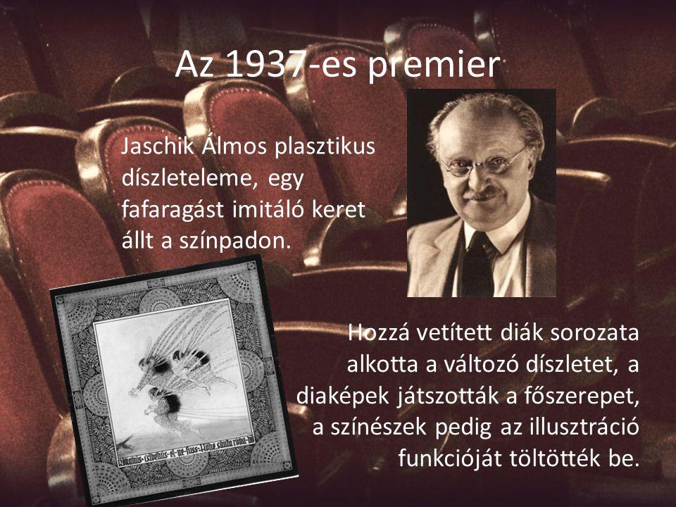 Az 1937-es premier Jaschik Álmos plasztikus díszleteleme, egy fafaragást imitáló keret állt a színpadon. Hozzá vetített diák sorozata alkotta a változ