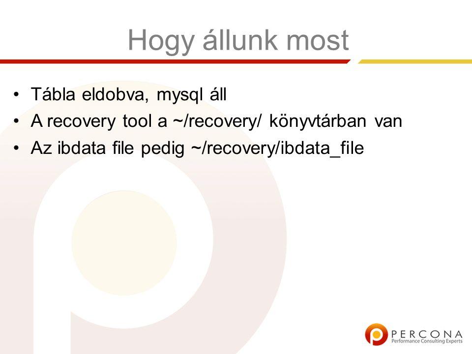Hogy állunk most Tábla eldobva, mysql áll A recovery tool a ~/recovery/ könyvtárban van Az ibdata file pedig ~/recovery/ibdata_file