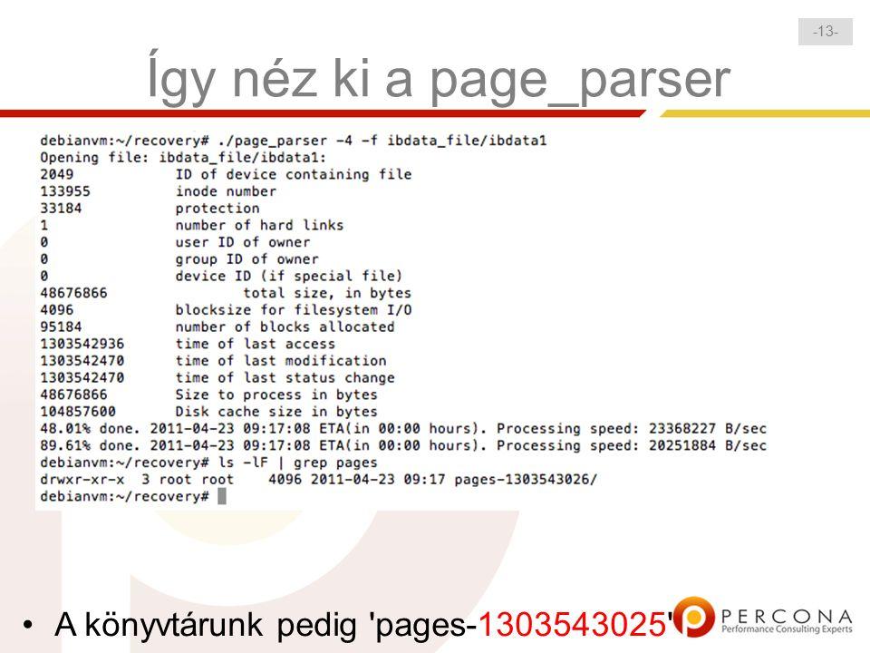 - 13 - Így néz ki a page_parser A könyvtárunk pedig pages-1303543025
