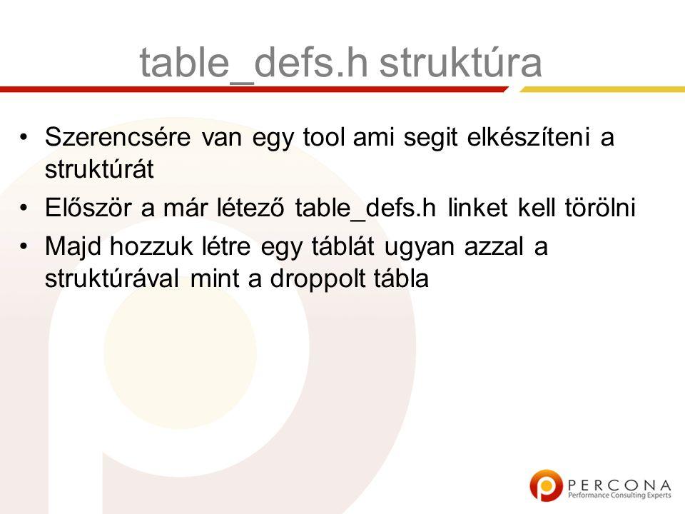 table_defs.h struktúra Szerencsére van egy tool ami segit elkészíteni a struktúrát Először a már létező table_defs.h linket kell törölni Majd hozzuk létre egy táblát ugyan azzal a struktúrával mint a droppolt tábla