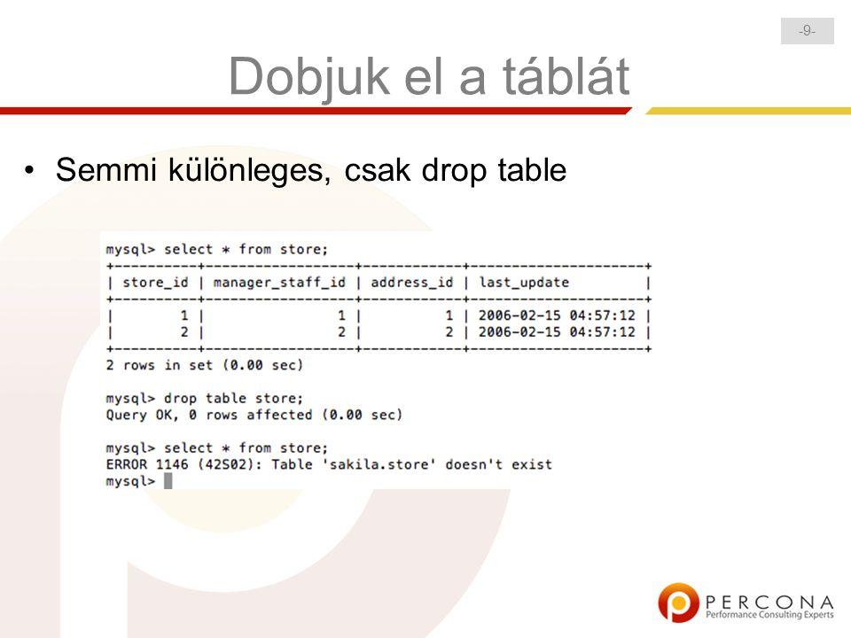 -9--9- Dobjuk el a táblát Semmi különleges, csak drop table