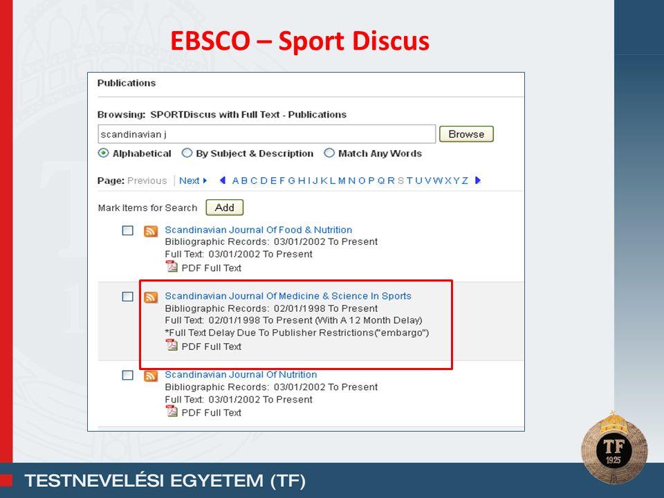 EBSCO – Sport Discus