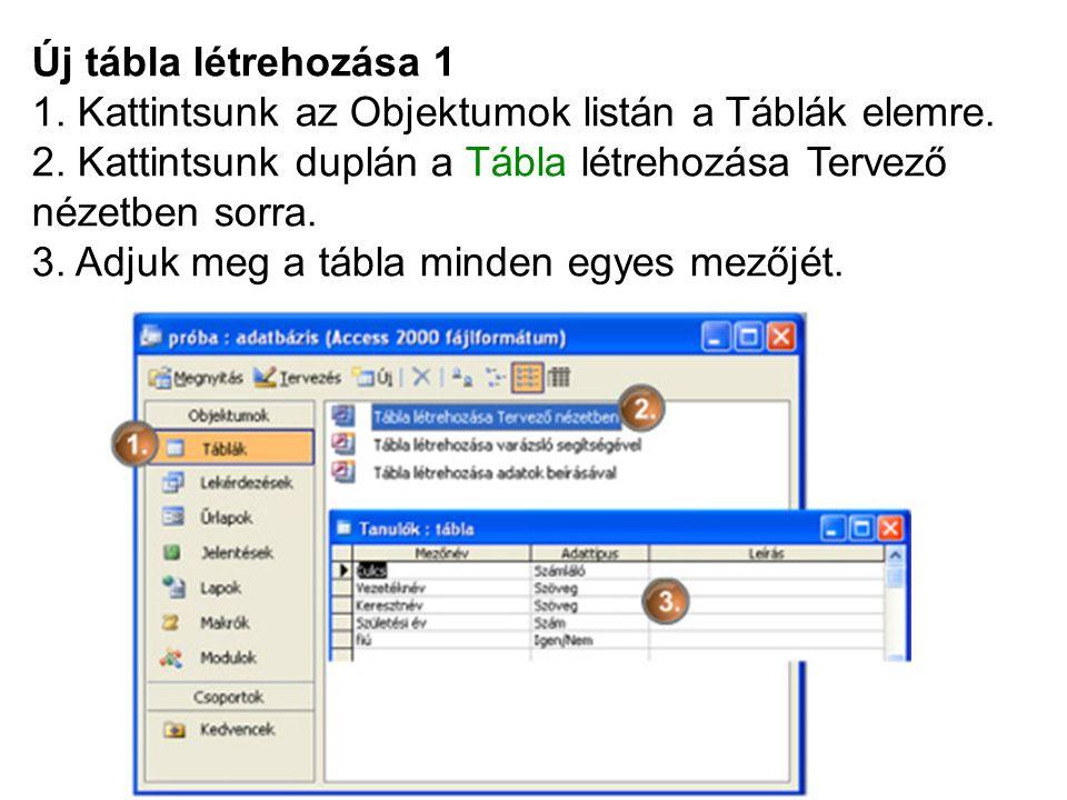 Új tábla létrehozása 1 1. Kattintsunk az Objektumok listán a Táblák elemre.