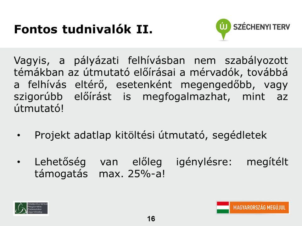 16 Fontos tudnivalók II.