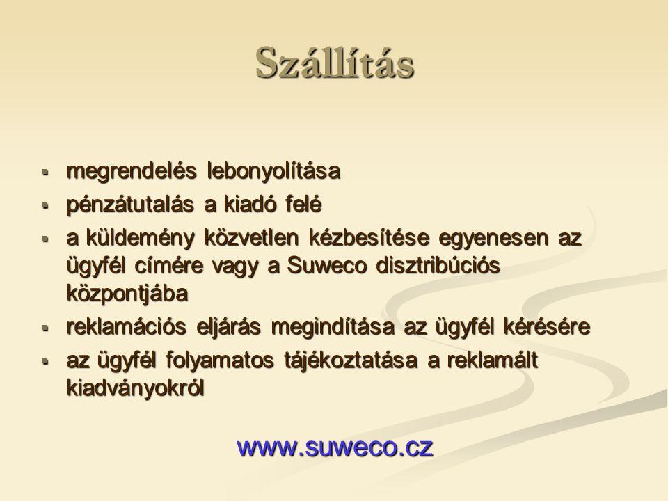 Szállítás Elektronikus kiadványok  megrendelés lebonyolítása  pénzátutalás a kiadó felé  a hozzáférés aktiválása  műszaki támogatás  egyszerű és gyors hozzáférés az online folyóiratokhoz a SUWECO honlapjáról www.suweco.cz