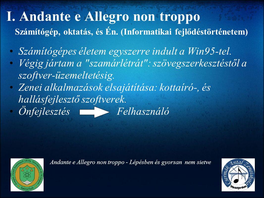 I. Andante e Allegro non troppo Számítógépes életem egyszerre indult a Win95-tel. Végig jártam a