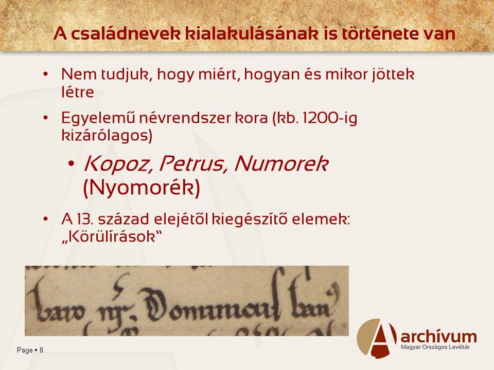 Page  8 Nem tudjuk, hogy miért, hogyan és mikor jöttek létre Egyelemű névrendszer kora (kb. 1200-ig kizárólagos) Kopoz, Petrus, Numorek (Nyomorék) A