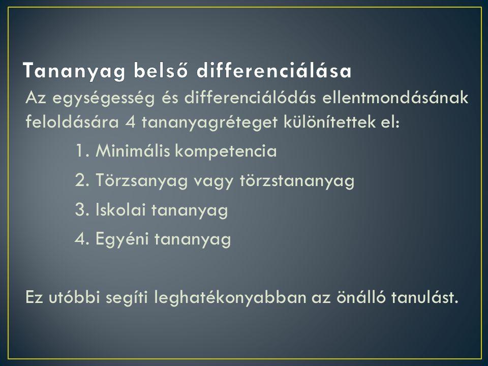 Az egységesség és differenciálódás ellentmondásának feloldására 4 tananyagréteget különítettek el: 1.