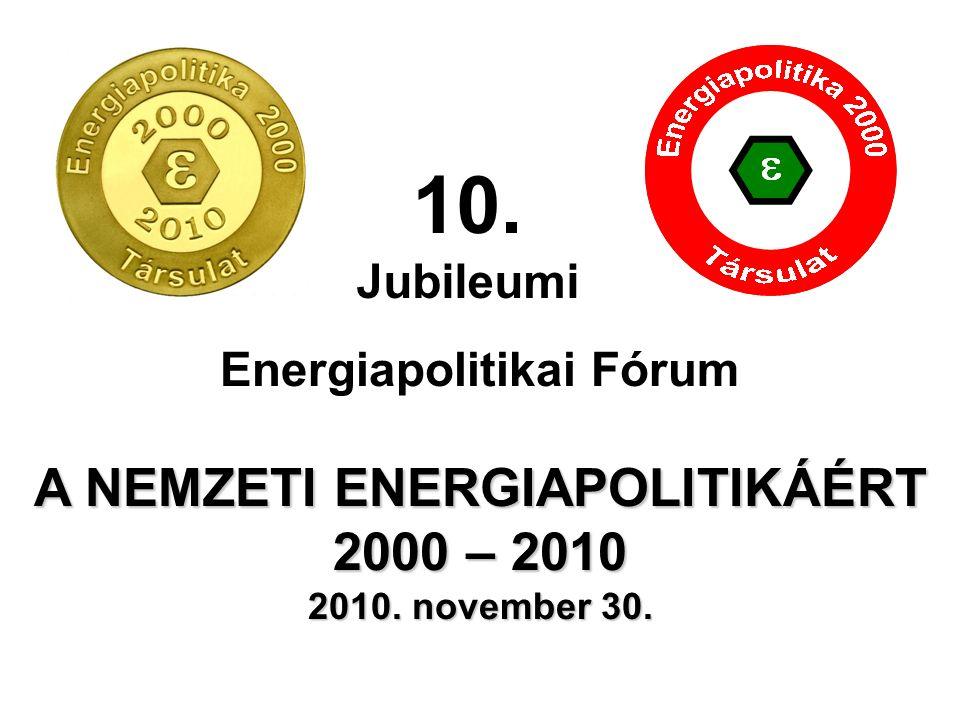Energiapolitikai Fórum A NEMZETI ENERGIAPOLITIKÁÉRT 2000 – 2010 2010. november 30. 10. Jubileumi