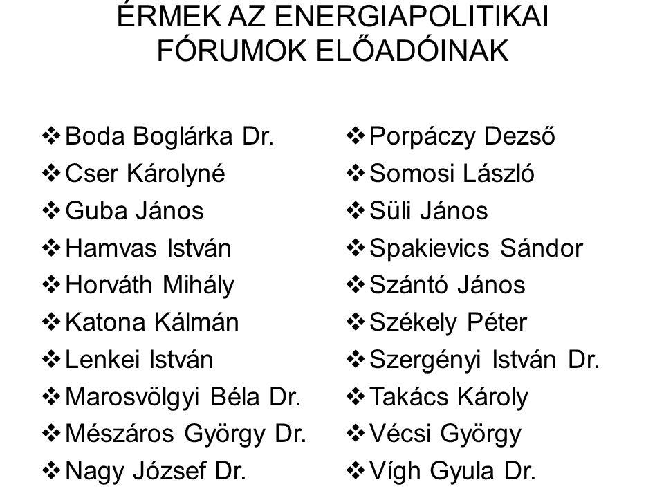ÉRMEK AZ ENERGIAPOLITIKAI FÓRUMOK ELŐADÓINAK  Boda Boglárka Dr.