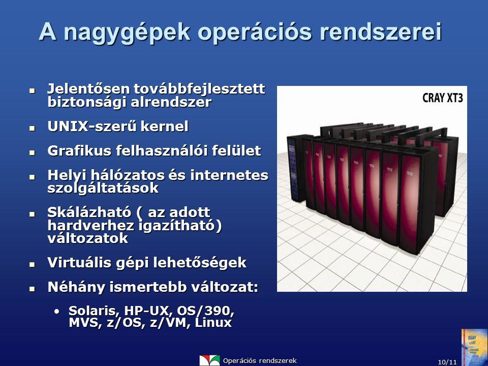 Operációs rendszerek 10/11 A nagygépek operációs rendszerei Jelentősen továbbfejlesztett biztonsági alrendszer Jelentősen továbbfejlesztett biztonsági alrendszer UNIX-szerű kernel UNIX-szerű kernel Grafikus felhasználói felület Grafikus felhasználói felület Helyi hálózatos és internetes szolgáltatások Helyi hálózatos és internetes szolgáltatások Skálázható ( az adott hardverhez igazítható) változatok Skálázható ( az adott hardverhez igazítható) változatok Virtuális gépi lehetőségek Virtuális gépi lehetőségek Néhány ismertebb változat: Néhány ismertebb változat: Solaris, HP-UX, OS/390, MVS, z/OS, z/VM, LinuxSolaris, HP-UX, OS/390, MVS, z/OS, z/VM, Linux