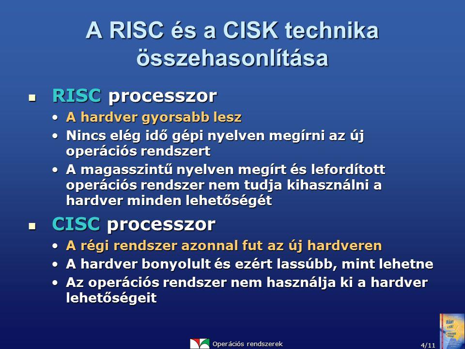 Operációs rendszerek 4/11 A RISC és a CISK technika összehasonlítása RISC processzor RISC processzor A hardver gyorsabb leszA hardver gyorsabb lesz Ni