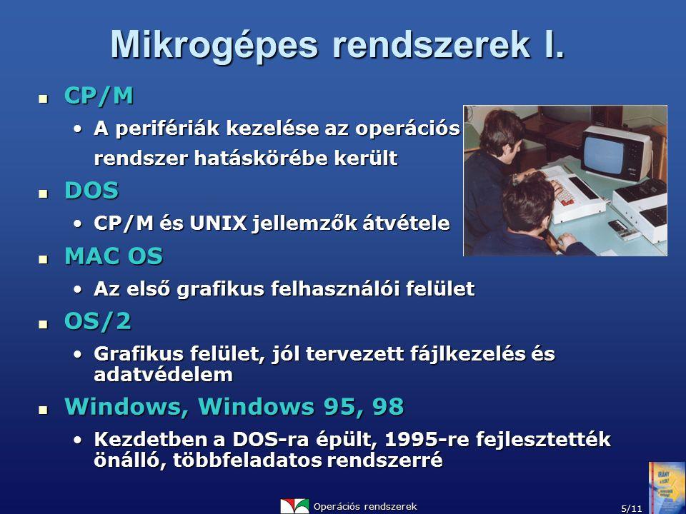 Operációs rendszerek 5/11 Mikrogépes rendszerek I. CP/M CP/M A perifériák kezelése az operációsA perifériák kezelése az operációs rendszer hatáskörébe