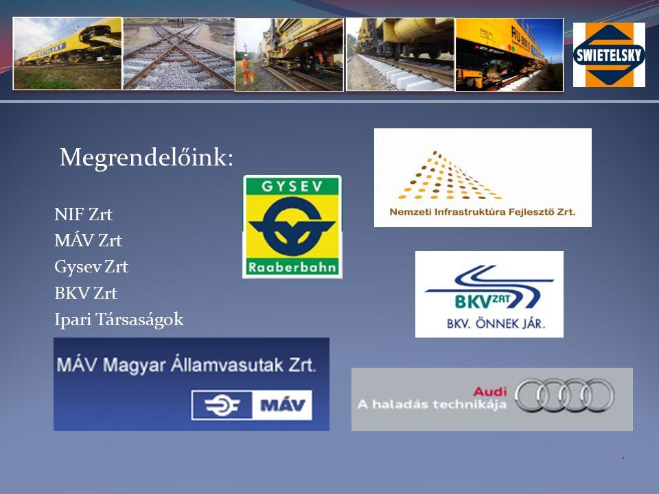 Megrendelőink: NIF Zrt MÁV Zrt Gysev Zrt BKV Zrt Ipari Társaságok