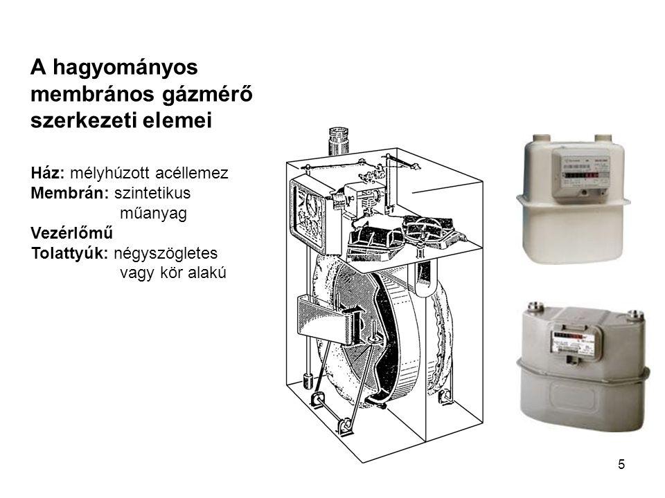 5 A hagyományos membrános gázmérő szerkezeti elemei Ház: mélyhúzott acéllemez Membrán: szintetikus műanyag Vezérlőmű Tolattyúk: négyszögletes vagy kör alakú