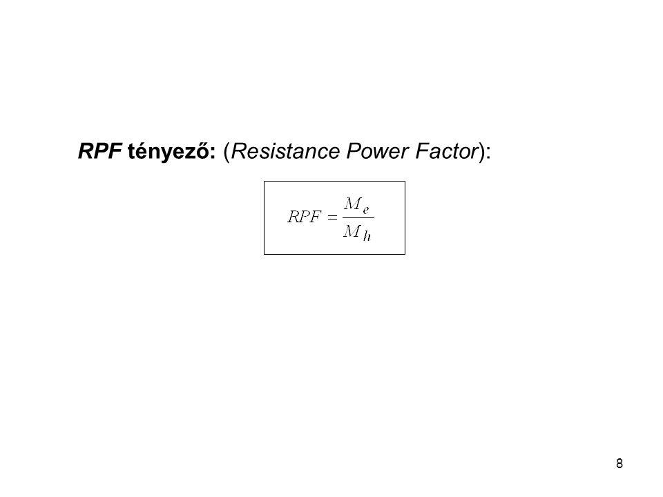 8 RPF tényező: (Resistance Power Factor):
