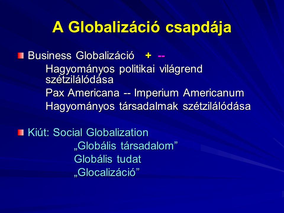 """A Globalizáció csapdája Business Globalizáció + -- Hagyományos politikai világrend szétzilálódása Pax Americana -- Imperium Americanum Hagyományos társadalmak szétzilálódása Kiút: Social Globalization """"Globális társadalom Globális tudat """"Glocalizáció"""