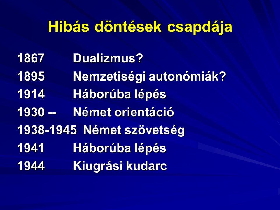 Hibás döntések csapdája 1867Dualizmus. 1895Nemzetiségi autonómiák.