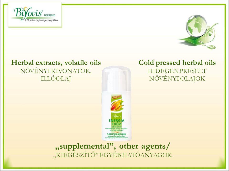 """Cold pressed herbal oils HIDEGEN PRÉSELT NÖVÉNYI OLAJOK Herbal extracts, volatile oils NÖVÉNYI KIVONATOK, ILLÓOLAJ """"supplemental , other agents/ """"KIEGÉSZÍTŐ EGYÉB HATÓANYAGOK"""