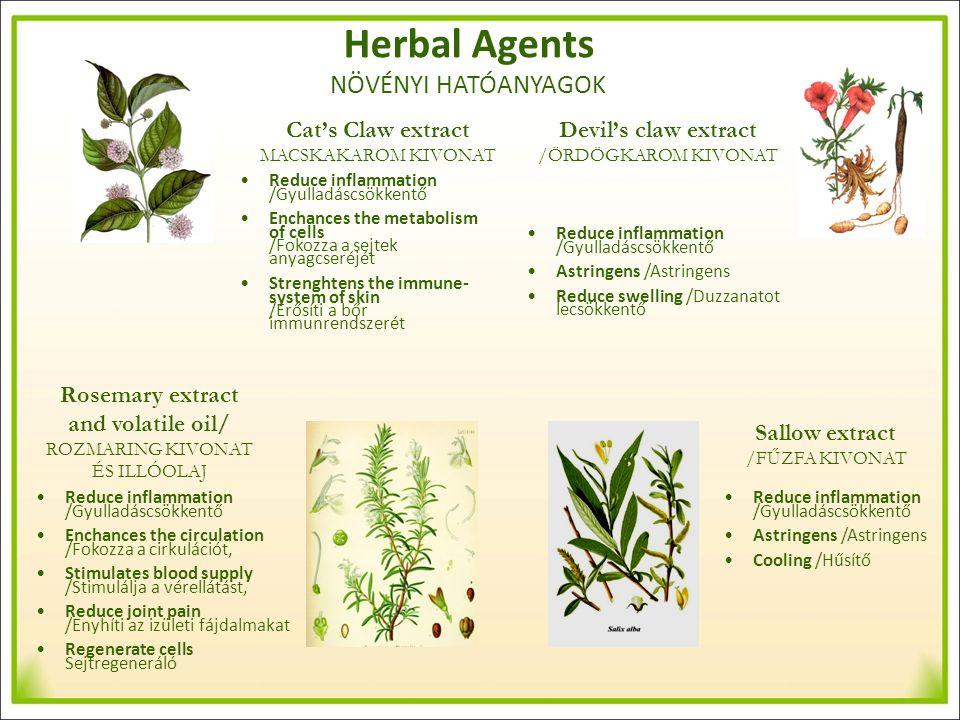 Herbal Agents NÖVÉNYI HATÓANYAGOK Cat's Claw extract MACSKAKAROM KIVONAT Rosemary extract and volatile oil/ ROZMARING KIVONAT ÉS ILLÓOLAJ Devil's claw extract /ÖRDÖGKAROM KIVONAT Sallow extract /FŰZFA KIVONAT Reduce inflammation /Gyulladáscsökkentő Enchances the metabolism of cells /Fokozza a sejtek anyagcseréjét Strenghtens the immune- system of skin /Erősíti a bőr immunrendszerét Reduce inflammation /Gyulladáscsökkentő Astringens /Astringens Reduce swelling /Duzzanatot lecsökkentő Reduce inflammation /Gyulladáscsökkentő Astringens /Astringens Cooling /Hűsítő Reduce inflammation /Gyulladáscsökkentő Enchances the circulation /Fokozza a cirkulációt, Stimulates blood supply /Stimulálja a vérellátást, Reduce joint pain /Enyhíti az izületi fájdalmakat Regenerate cells Sejtregeneráló