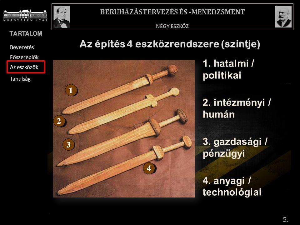 TARTALOM BREVIÁRIUM – RÖVID MAGYARÁZATOK NÉGY ESZKÖZ BERUHÁZÁSTERVEZÉS ÉS -MENEDZSMENT Bevezetés Főszereplők Az eszközök Tanulság Az építés 4 eszközrendszere (szintje) 1.