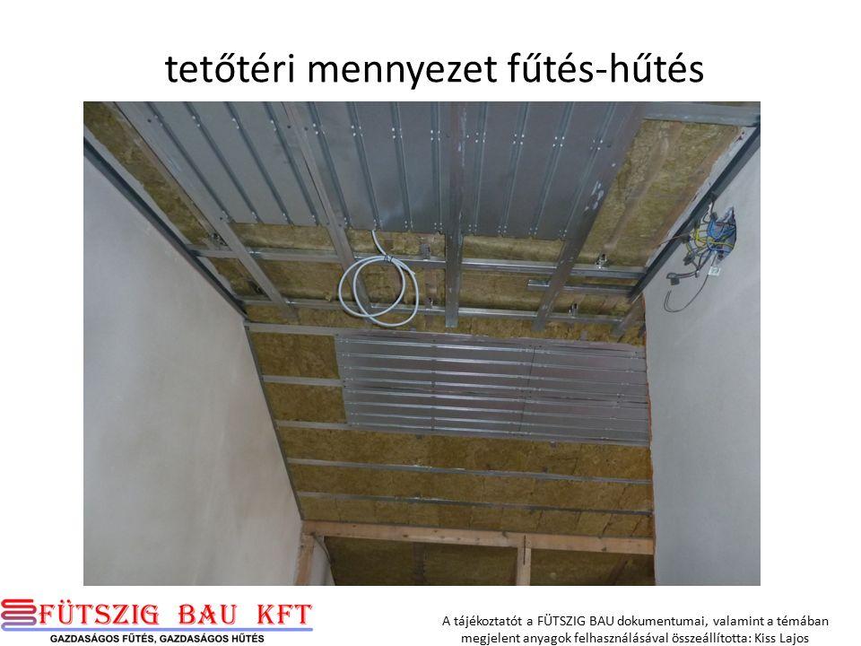 A tájékoztatót a FÜTSZIG BAU dokumentumai, valamint a témában megjelent anyagok felhasználásával összeállította: Kiss Lajos tetőtéri mennyezet fűtés-hűtés