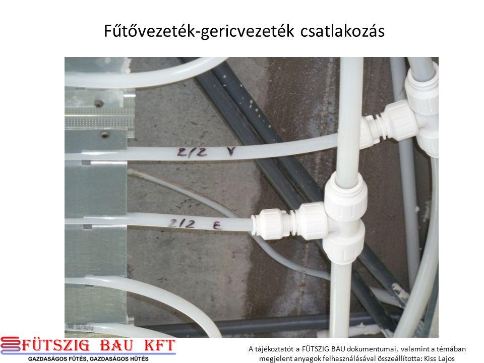 Fűtővezeték-gericvezeték csatlakozás A tájékoztatót a FÜTSZIG BAU dokumentumai, valamint a témában megjelent anyagok felhasználásával összeállította: Kiss Lajos