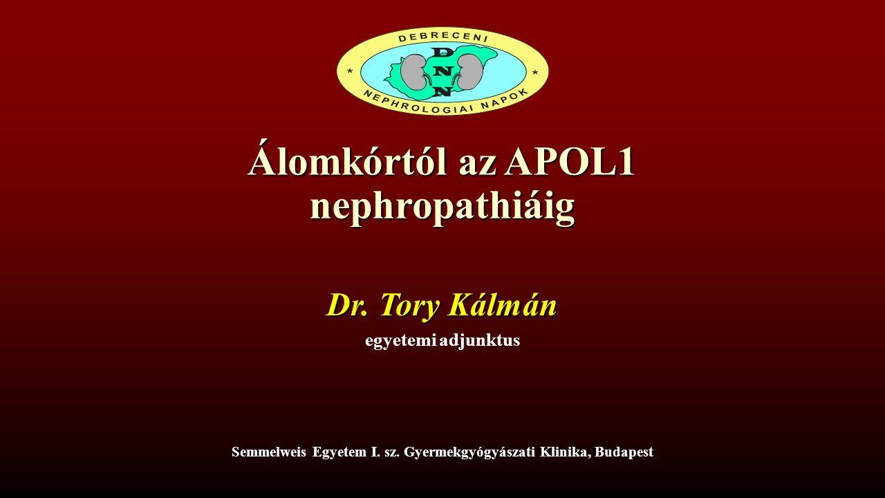Álomkórtól az APOL1 nephropathiáig Dr. Tory Kálmán egyetemi adjunktus Semmelweis Egyetem I.