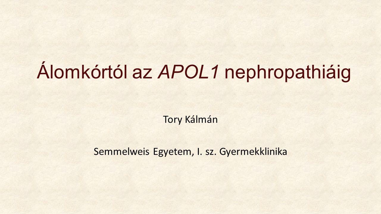 Álomkórtól az APOL1 nephropathiáig Tory Kálmán Semmelweis Egyetem, I. sz. Gyermekklinika