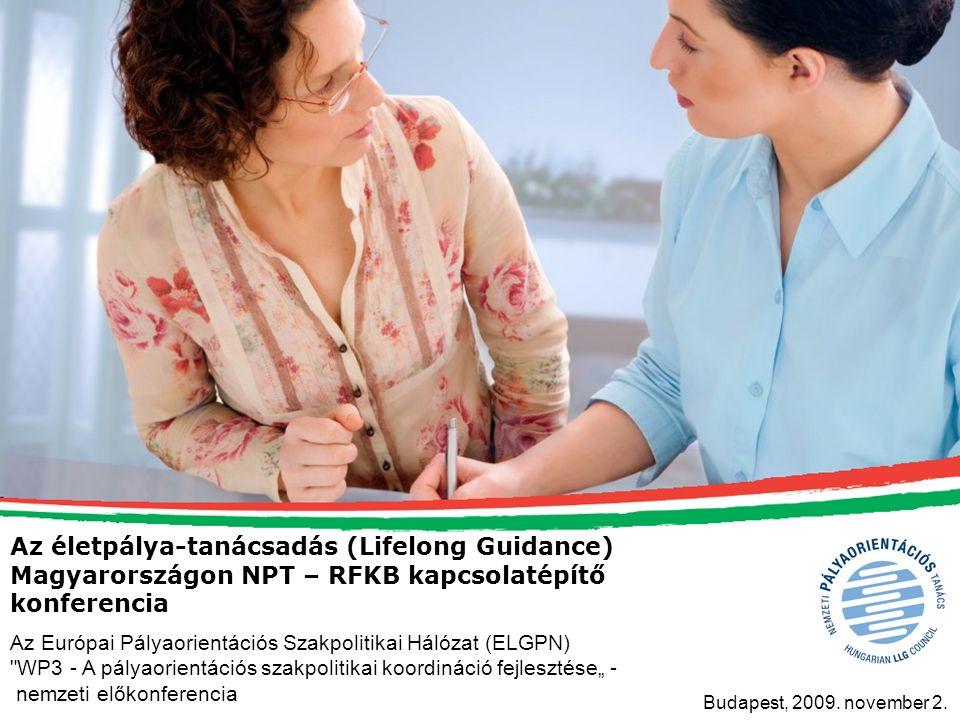 Az életpálya-tanácsadás (Lifelong Guidance) Magyarországon NPT – RFKB kapcsolatépítő konferencia Budapest, 2009.