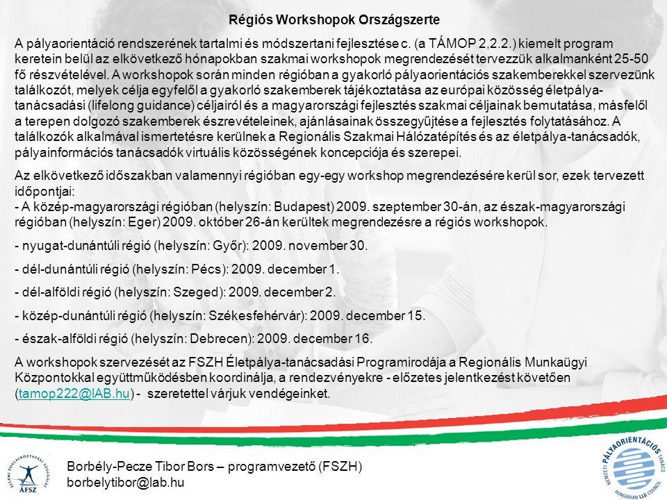 Borbély-Pecze Tibor Bors – programvezető (FSZH) borbelytibor@lab.hu Régiós Workshopok Országszerte A pályaorientáció rendszerének tartalmi és módszertani fejlesztése c.