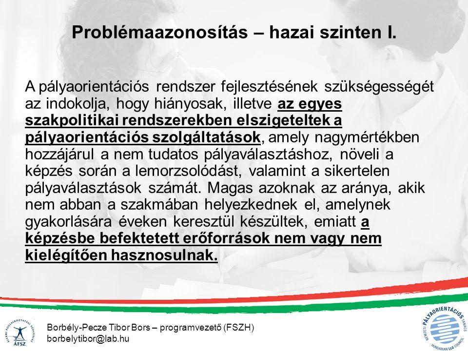 Borbély-Pecze Tibor Bors – programvezető (FSZH) borbelytibor@lab.hu A pályaorientációs rendszer fejlesztésének szükségességét az indokolja, hogy hiányosak, illetve az egyes szakpolitikai rendszerekben elszigeteltek a pályaorientációs szolgáltatások, amely nagymértékben hozzájárul a nem tudatos pályaválasztáshoz, növeli a képzés során a lemorzsolódást, valamint a sikertelen pályaválasztások számát.