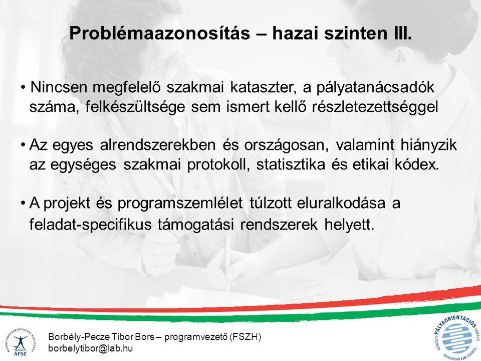 Borbély-Pecze Tibor Bors – programvezető (FSZH) borbelytibor@lab.hu Problémaazonosítás – hazai szinten III./1 Csak az ÁFSZ belső és kiszerződött tanácsadói kapacitásáról van országos Adat, de ez is csak egy időpillanatra.