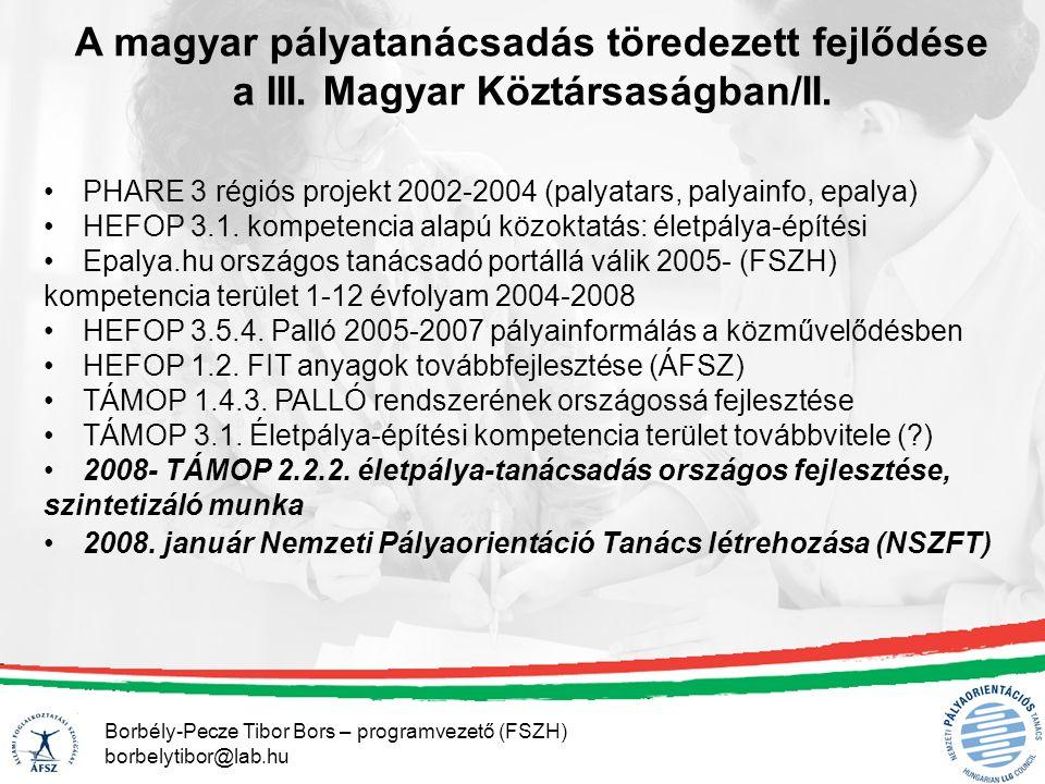 Borbély-Pecze Tibor Bors – programvezető (FSZH) borbelytibor@lab.hu A magyar pályatanácsadás töredezett fejlődése a III.
