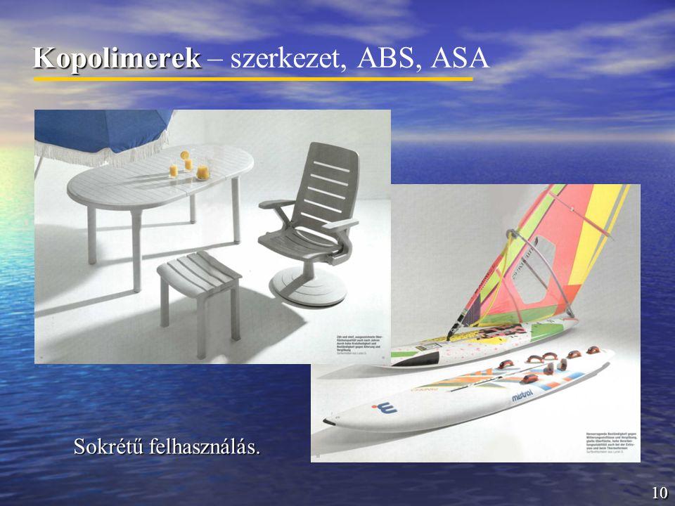 10 Kopolimerek Kopolimerek – szerkezet, ABS, ASA Sokrétű felhasználás.