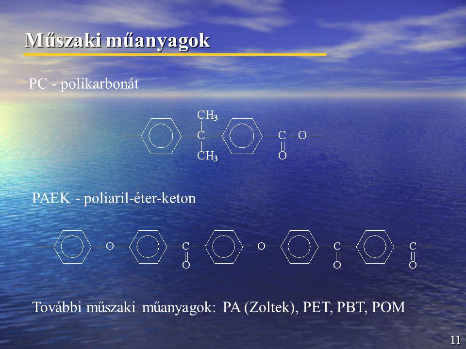11 Műszaki műanyagok PC - polikarbonát PAEK - poliaril-éter-keton További műszaki műanyagok: PA (Zoltek), PET, PBT, POM